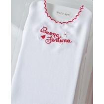 Camicia della Fortuna in Pura Seta Fantasy Buona Fortuna Bianco Rosso