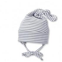 Cappellino a nodo Sterntaler art 19225 a righe bianco/grigio