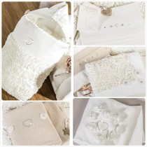 Coordinato Tessile Culla Picci Flora Var 09 Bianco Panna