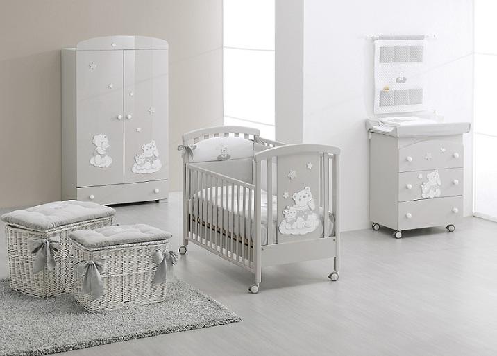 Coordinato tessile letttino nuvola erbesi colore grigio camerette tessili coordinati - Camerette bambini neonati ...